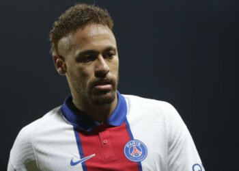 PSG's Neymar reacts during the French League One soccer match between Brest and Paris Saint-Germain at the Stade Francis-Le Ble stadium in Brest, France, Sunday, May 23, 2021. (AP Photo/Thibault Camus)