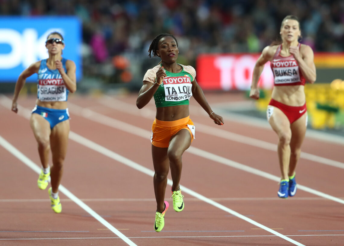 LONDON, ENGLAND - AUGUST 08:  Marie-Josee Ta Lou of the Ivory Coast competes in the Women's 200 metres heats during day five of the 16th IAAF World Athletics Championships London 2017 at The London Stadium on August 8, 2017 in London, United Kingdom.  (Photo by Alexander Hassenstein/Getty Images for IAAF)